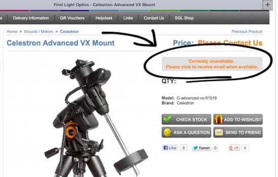New Celestron Advanced VX Mount - Sponsor Announcements and