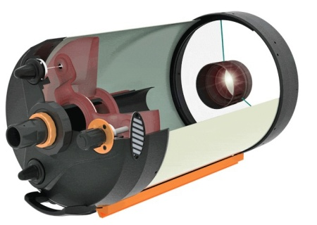 "A Cutaway view of a Celestron 14"" Edge HD SC Telescope."