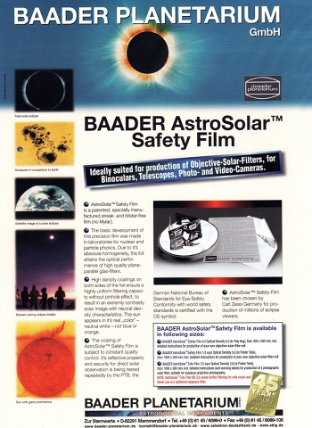 baader astrosolar safety film nd 5.0 | first light optics