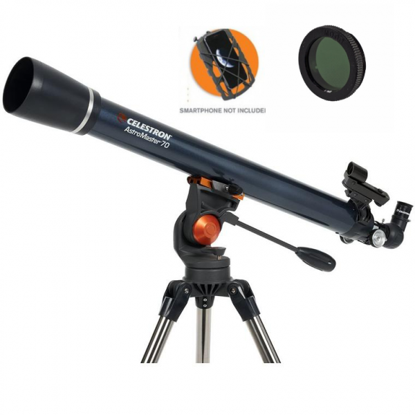 Celestron AstroMaster 70AZ Refractor Telescope with Smartphone Adapter and Moon Filter