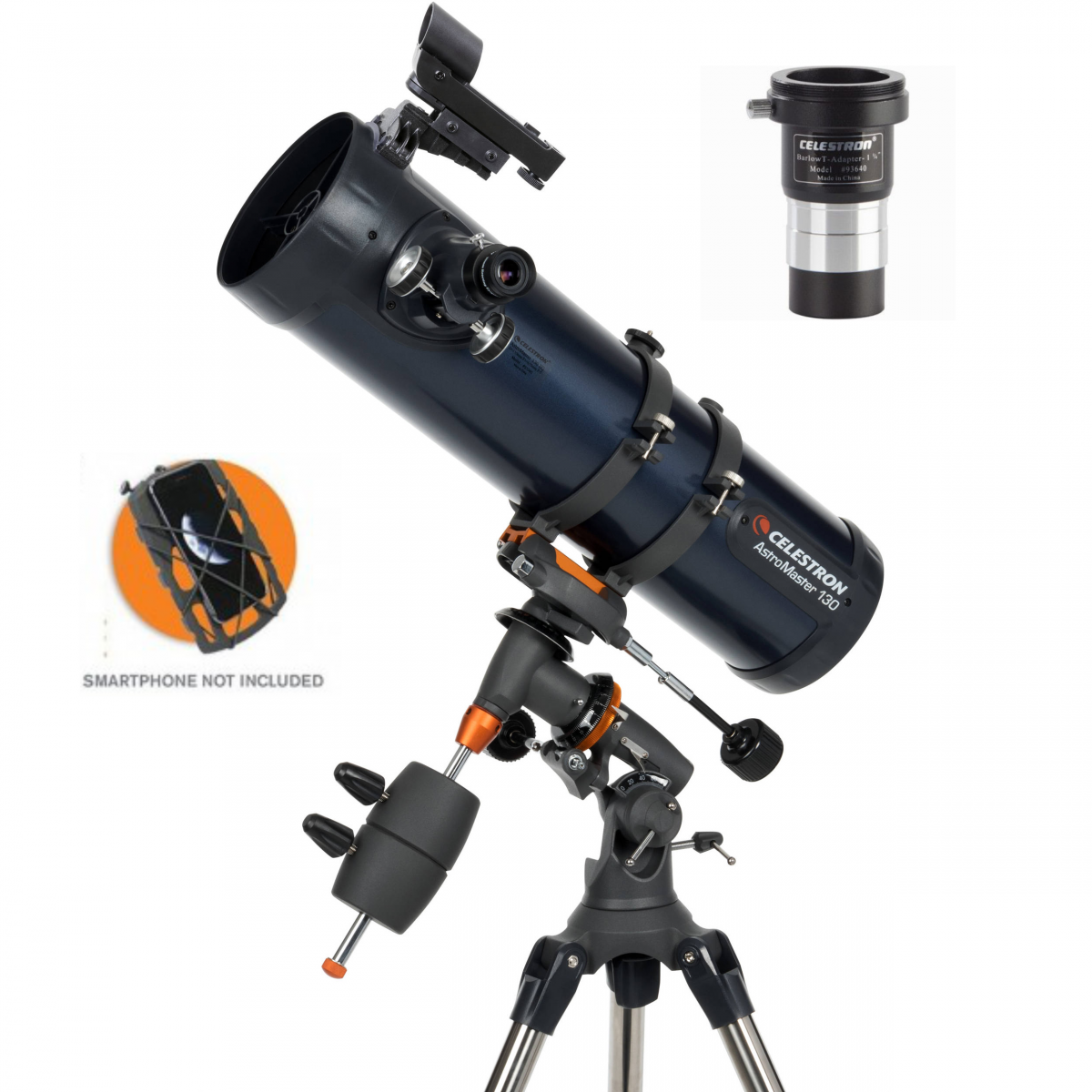 Celestron AstroMaster 130EQ Newtonian Telescope with Smartphone Adapter & Barlow T-Adapter