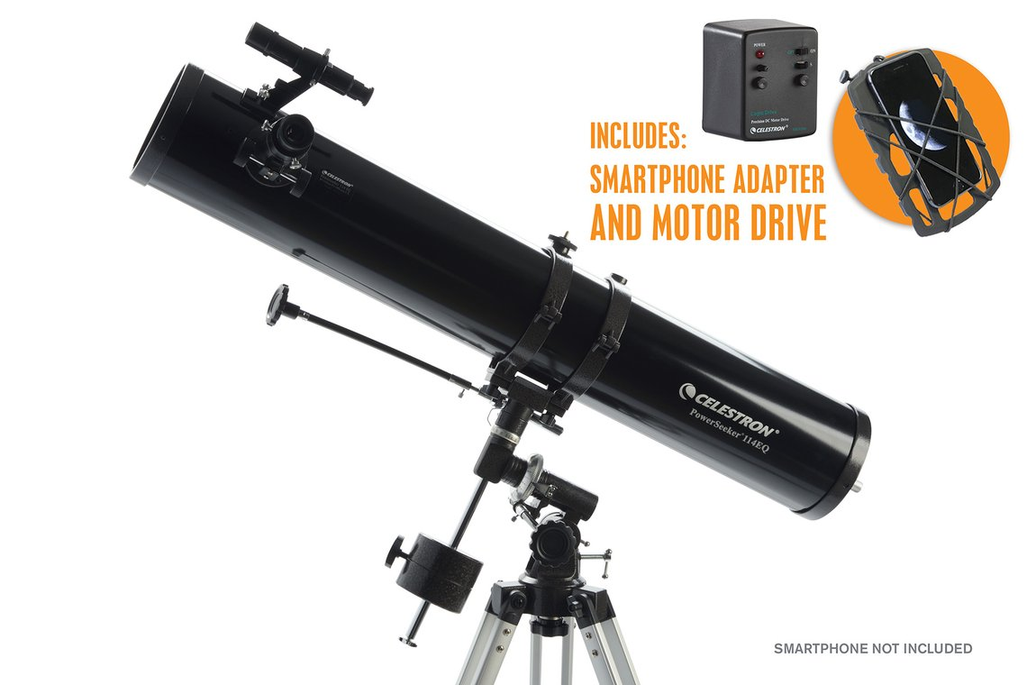 Celestron PowerSeeker 114EQ with Motor Drive and Phone Adapter