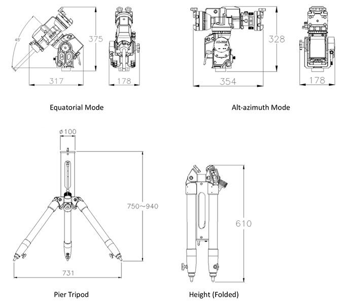 Schema tecnico della montatura Skywatcher AZ EQ 5 GT Synscan
