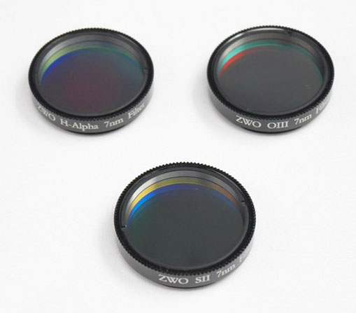 ZWO 1.25'' Ha SII OIII 7nm Narrowband Filter Set