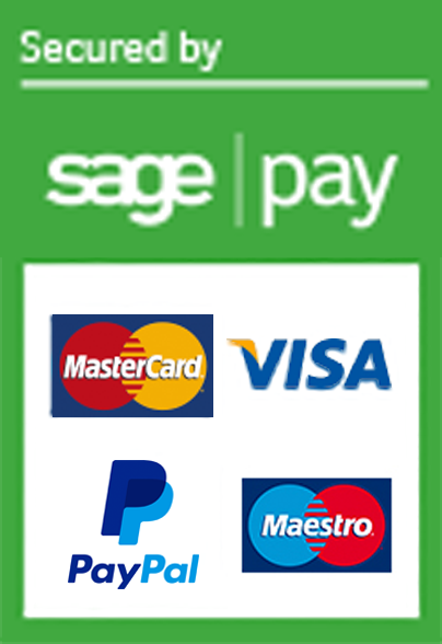 Secured by Sage Pay. Via, Mastercard, Maestro & PayPal accepted.